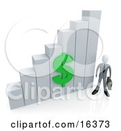 Businessman Holding A Briefcase And Standing Beside A White Bar Graph Chart With A Green Dollar Symbol On It Clipart Illustration Graphic