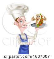 Poster, Art Print Of Cartoon Chef Poiting With Kebab