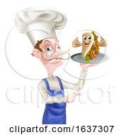 Cartoon Chef Poiting With Kebab