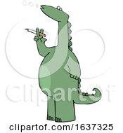 Poster, Art Print Of Cartoon Dinosaur Smoking A Cigarette