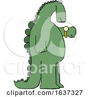Cartoon Dinosaur Checking The Time On His Wrist Watch