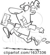 Cartoon Black And White Stressed Man Rushing To File His Taxes By The Deadline