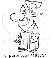 Cartoon Black And White Happy Older Male Graduate With Canes
