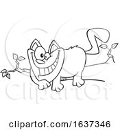 Cartoon Black And White Grinning Cheshire Cat On A Branch