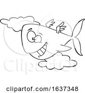Cartoon Black And White Happy Flying Whale