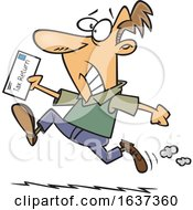 Cartoon Stressed White Man Rushing To File His Taxes By The Deadline