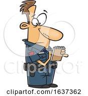 Cartoon White Man Writing A Ticket