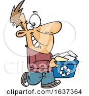Cartoon Happy White Man Carrying A Recycle Bin