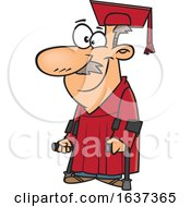 Cartoon Happy Older White Male Graduate With Canes
