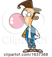 Cartoon White Teen Boy Wearing A Letter Jacket And Blowing Bubble Gum