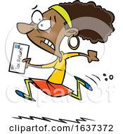 Cartoon Black Woman Running To File Taxes By The Deadline