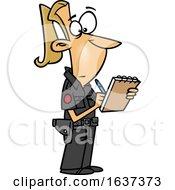 Cartoon Blond White Female Ticket Writer