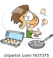 Cartoon White Boy Juggling And Preparing To Make Scrambled Eggs