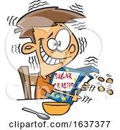 Cartoon Jittery White Boy Hugging A Sugary Cereal Box