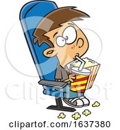 Cartoon White Boy Sipping A Fountain Soda And Holding Popcorn While Watching A Matinee Movie