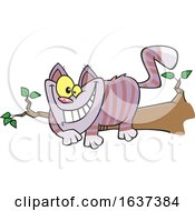 Cartoon Grinning Cheshire Cat On A Branch