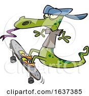 Cartoon Lizard Skateboarding by toonaday