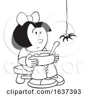 Black And White Little Miss Muffet And Spider
