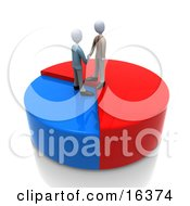 Two Businessmen Standing On A Pie Chart Shaking Hands And Agreeing On A Deal Clipart Illustration Graphic