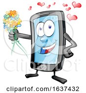 Poster, Art Print Of Cartoon Romantic Smart Phone Mascot Holding Out Flowers