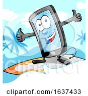 Cartoon Smart Phone Mascot Surfing by Domenico Condello