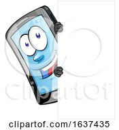 Cartoon Smart Phone Mascot With A Sign by Domenico Condello