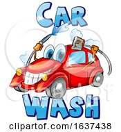 Cartoon Happy Red Car Character Mascot Washing Itself