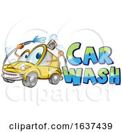 Cartoon Happy Yellow Automobile Character Mascot Washing Itself With Car Wash Text