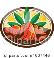 Poster, Art Print Of Canyon With Hemp Leaf Oval Retro