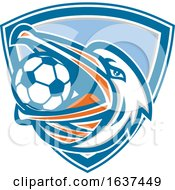 Retro Pelican Bird Holding A Soccer Ball In His Beak In A Blue White And Gray Shield