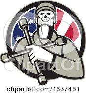 MECHANIC Hold TIRE Wrench On Chest USA FLAG CIRC
