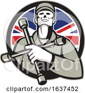 British Tyre Technician Lug Wrench Union Jack Flag Circle Icon