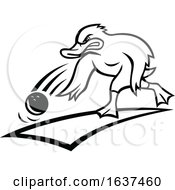 Duck Bowler Bowling Ball Cartoon Black And White