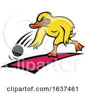 Duck Bowler Bowling Ball Mascot Cartoon