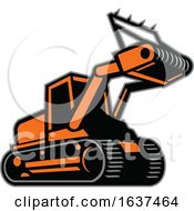 Poster, Art Print Of Tracked Mulching Tractor Icon Retro