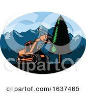 Tracked Mulching Tractor Mowing A Pine Tree by patrimonio