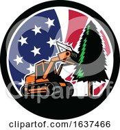 Poster, Art Print Of American Forestry Mulcher Usa Flag Retro