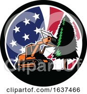 American Forestry Mulcher USA Flag Retro