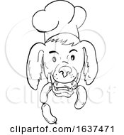 Chef Dog Biting Sausage String Cartoon Black And White