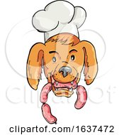 Chef Dog Biting Sausage String Cartoon Color