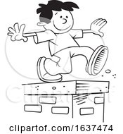 Cartoon Black And White Boy Walking On Top Of A Brick Wall