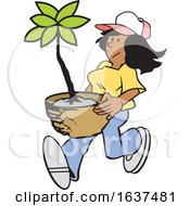 Cartoon Black Gardener Woman Carrying A Potted Plant