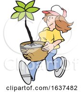Cartoon White Gardener Woman Carrying A Potted Plant