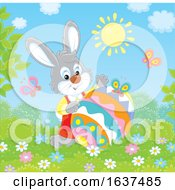 Bunny Rabbit With A Patterned Easter Egg