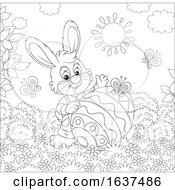 Black And White Bunny Rabbit With A Patterned Easter Egg