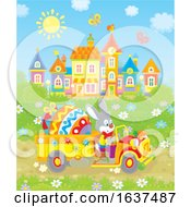 Poster, Art Print Of Bunny Rabbit Driving A Giant Easter Egg In A Truck