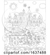 Poster, Art Print Of Black And White Bunny Rabbit Driving A Giant Easter Egg In A Truck