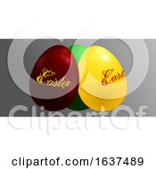 3D Trio Of Decorated Easter Eggs On Gray Panel