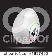 Poster, Art Print Of White 3d Easter Bingo Lottery Egg On Black