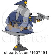 Cartoon Chubby Police Dog Aiming A Pistol
